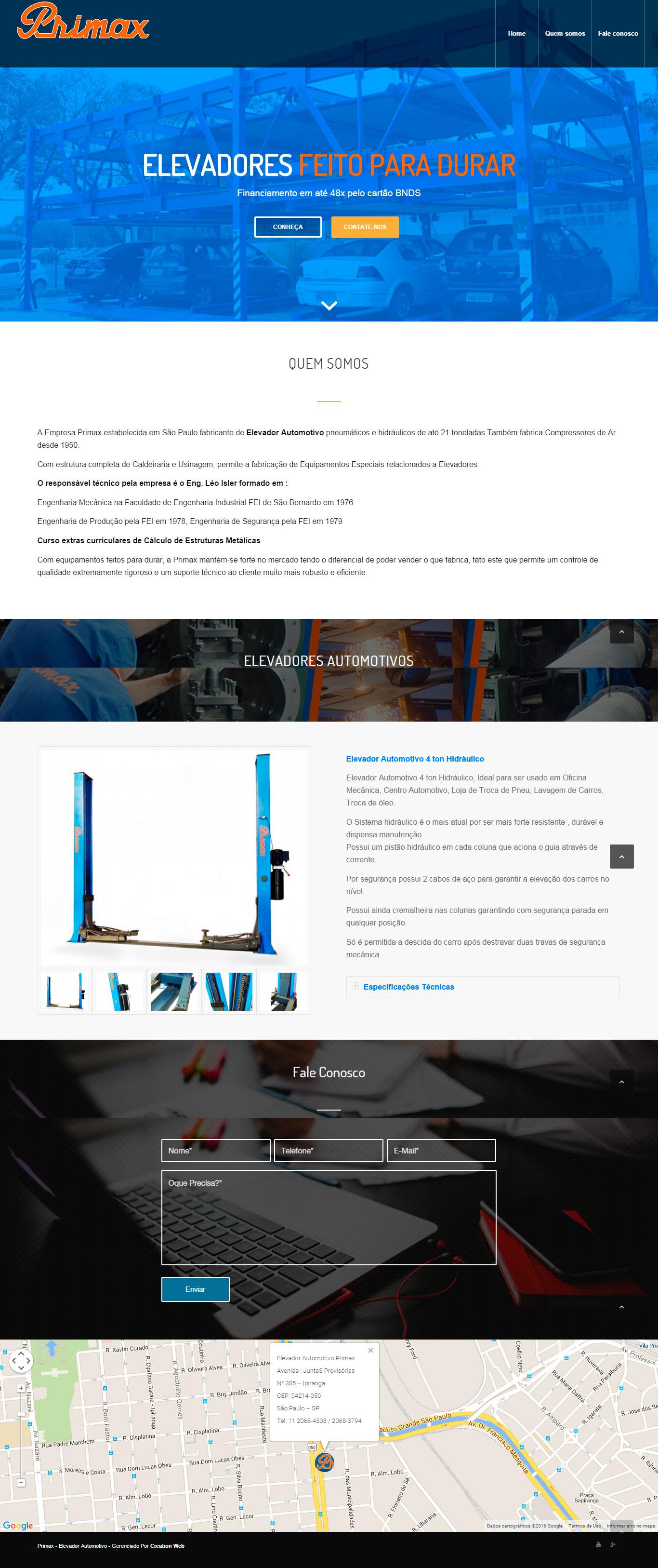 Criação de Site - Primax Elevadores Automotivos